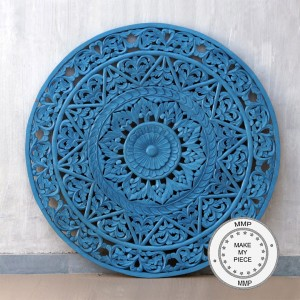 Dynasty Hand Carved Indian Solid Wood Round Wall Decorative Carved Panel Bue