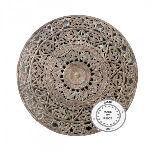 Dynasty Hand Carved Indian Solid Wood Round Wall Decorative Carved Panel Whitewash