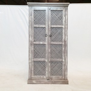 Antique Indian Jali carved Cabinet Pantry Cupboard White Rustic 90x40x183cm
