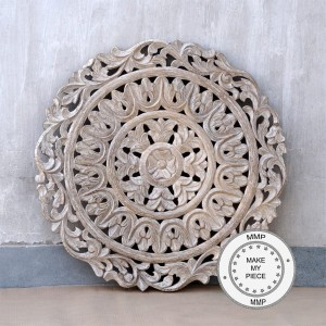 Dynasty Hand Carved Indian Wooden Round Bedhead Panel
