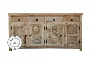 Yennora Indian Solid Wood Long Buffet Sideboard With Carved Doors & 4 Drawers