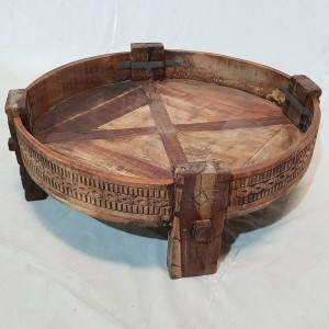 Tribal Chakki Antique Grinder Full Round Coffee Table Natural 65x65x30cm A