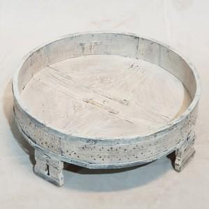 Tribal Chakki Antique Grinder Full Round Coffee Table White 65x65x30cm C