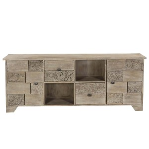 Vivid Indian Solid Wood Tv  Media Console with 2-Door & 2-Drawers