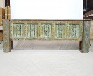 Indian Solid Antique Old Door Tribal console Large Hall Table Green 220x46x82cm