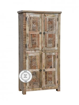 Indian Hand Carved Solid Wood Wardrobe Cabinet Natural