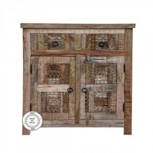 Indian Solid Wood Hand Carved Cabinet Natural