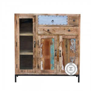 Lava Industrial Indian Solid Wood Chest Of Drawers Sideboard Natural