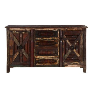 X - Design Indian Reclaimed Wood 4 Drawers Large Buffet Sideboard B