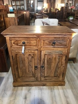 Indian Solid Wood Small Cabinet Natural 90 x 45 x 90 Cm