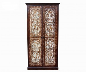 MADE TO ORDER Maharaja Wooden Wardrobe Cabinet Brown 100x60x200 cm