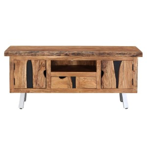 Live Edge Industrial Solid Wood 1 Drawer Tv Unit Console Cabinet