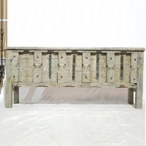 Indian Solid Antique Old Door Tribal console Large Hall Table Grey