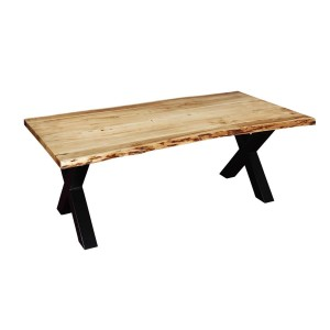 "Industrial 78"" Cross Legs Acacia Wood Live Edge Dining Table"