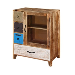Vivid Indian Solid Wood Small Buffet Cabinet With Chest Of Drawers