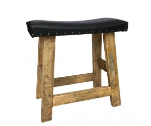 AGED LEATHER NATURAL UPHOLSTERED STOOL LOFT