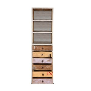 Lava Industrial Indian Solid Wood Open Shelf Tall Narrow Bookcase With Drawers