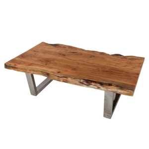 Acacia Wood & Steel Rustic Live Edge Coffee Table Natural