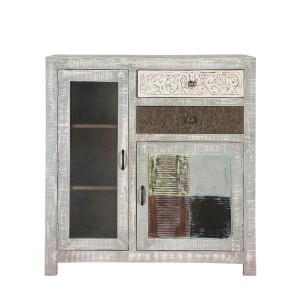 Vivid  2 Drawers Distressed Mango Wood Accent Storage Small Cabinet