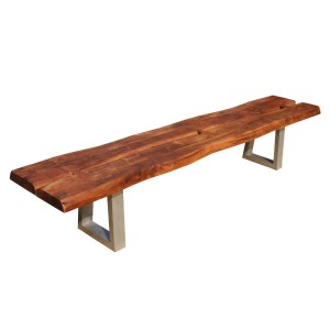 Live Edge Solid Wood & Iron Long Backless Bench Natural