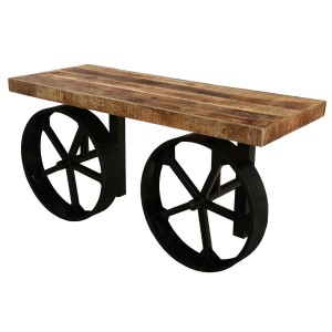 Boston Chic Industrial Iron Base and Wooden Top Console Table