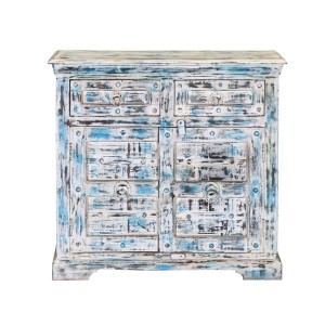 Rustica Indian Reclaimed Wood Freestanding 2 Drawer Storage Cabinet