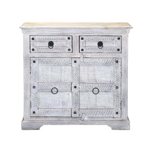 Rustica Winter White Reclaimed Wood 2 Drawer Small Buffet Cabinet