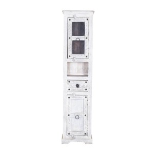 Blanc Indian Reclaimed Wood Multi-Door Tall Narrow White Linen Cabinet