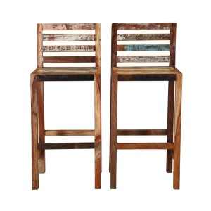 Reclaimed Wood Low Back Tall Bar Stool Set of 2 Natural