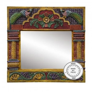 Floral Hand Painted Indian Wood Carved And Colorful Frame
