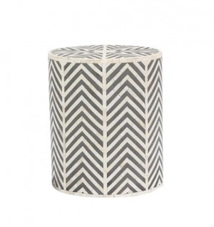 Maaya Bone Inlay Round drum Side Table Blue ZigZag