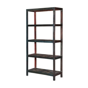 Miller Industrial Reclaimed Wood 4 Open Shelf  Bookcase