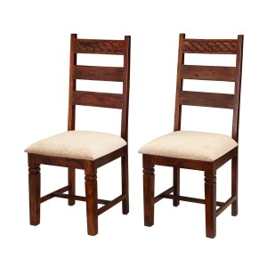 Handcrafted Indian Solid Wood 2pc  Ladder Back Chairs Natural
