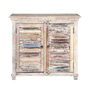 Rustica Indian Reclaimed Wood Small Buffet Cabinet White