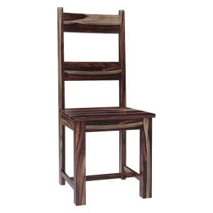 Modern Rustic Solid Wood Ladder Back Dining Chair Chocolate