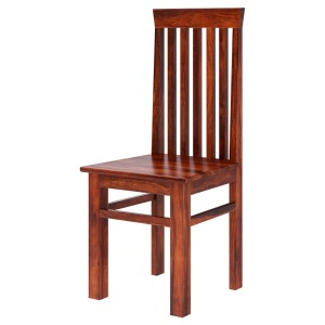 Indian Solid Wood Classic Tall Back Dining Chair Honey