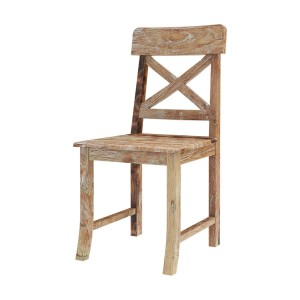 Rustic Teak Wood Dining Chair with X Shaped Dining Chair Natural