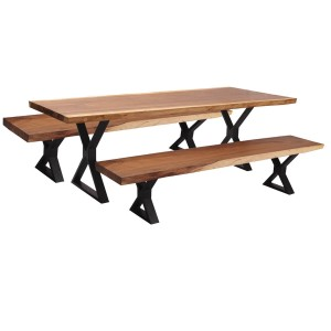 Solid Wood Iron Base Live Edge Dining Table With Bench Set Natural
