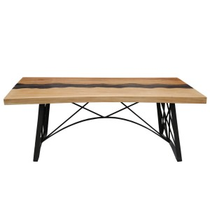 Torrance Iron Base Large Farmhouse Industrial Dining Table