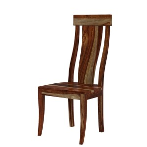 Handcrafted Single Slat Back Solid Wood Dining Chair Natural
