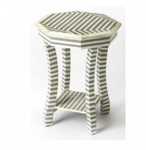 Maaya Bone Inlay Round Side Table Grey White Striped