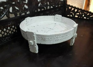 Tribal Chakki Grinder Carved Round Coffee Table White 65 CM Diameter