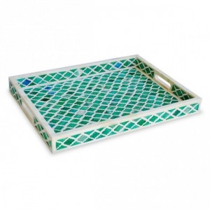 Maaya Bone Inlay Serving Tray - Moroccan Design Green  49x39x5cm