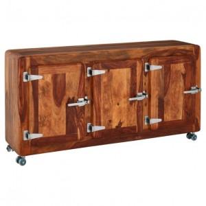 Cromer Retro style Shesham Wood Sideboard on wheels Natural 145cm