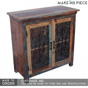 Reclaimed wood Metal Curly Jali large Sideboard