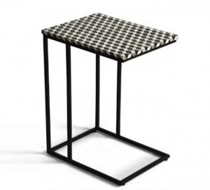 Maaya Bone Inlay Rectangular Side Table Black Geometric