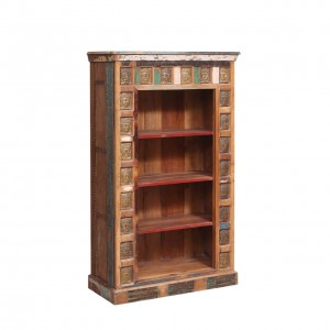 Winifred Rustic Reclaimed Wood Hand Carved Home Office Bookcase