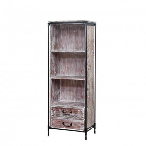 Cowiche Reclaimed Wood 3 Shelf Open Bookcase with Drawer