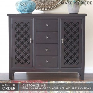 Hand Carved JALI Door Solid wood Sideboard Black