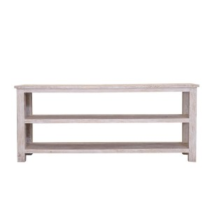 Blanc Indian Solid Wood Open Shelve 2 Tier Rustic Tv Stand
